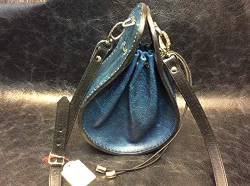 Handtasche, Beuteltasche, Ledertasche, Lederbeutel, aus eigener Herstellung, komplett Leder, blau