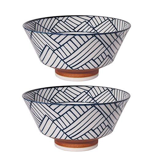Juego de 2 pares de cuencos Hinomaru Collection auténticos japoneses de porcelana minoyaki Sometsuke Ramen de gran tamaño para fideos multiusos, 16.58 fl oz 7.25 pulgadas de ancho.