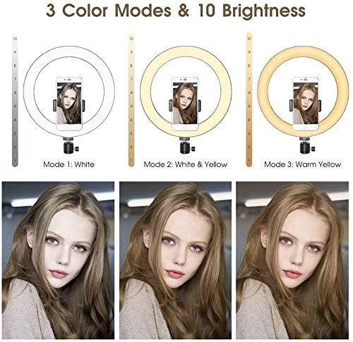 6 pulgadas LED Luz del anillo, selfie Luz del anillo con el mini soporte de sobremesa y 360 grados de rotación del cardán, Tiro con 3 luces de color y brillo regulable 10 for Video, maquillaje, YouTub