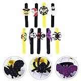 adse 7pcs braccialetti di schiaffo di halloween braccialetti a scatto a forma di ragno del cranio del fantasma del pipistrello della zucca per i regali dei favori di festa di halloween