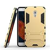 Funda Libro para Meizu Pro 6 Plus , Ycloud el teléfono Strongest a prueba de golpes armadura doble protección de concha protectora de duro soporte cubierta protectora Gold