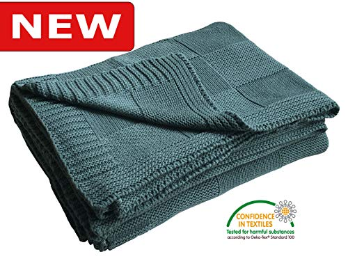 100% Cotton Knit Throw Blanket for Sofa Couch Adult Kid, Pre-Washed Plant Dyed Yarn, Super Soft, Cozy, Warm, Breathable Home Décor TV Blankets, All Season, Oeko-Tex Certified (Green, 50'X60')