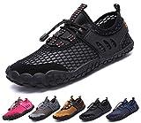 Chaussures Aquatiques Homme Femme Enfants Chaussures d'eau Chaussons de Plage Chaussures de Yoga Plongee Sport Aquatique Piscine Nager Surf Plongee, Noir 4, 44 EU