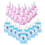 Schneespitze 24 piezas Biberones Dulces Botella Mini Chupete de Decoración,Plastico Azul Botella Dulces Botellas de Chocolate Caramelo Recuerdo de Bautizo Baby Shower,Bebé Favorece Decoraciones