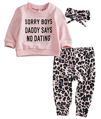 Baby Girls Newborn 3PCS Clothes Top Printed T Shirt Leopard Pants Headband Sweatshirt Infant Outfit Clothing Sets Bodysuit (Pink, 12-18 Months)