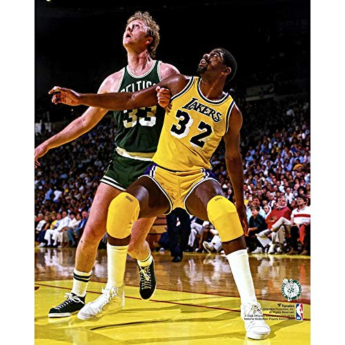 Boston Celtics Larry Bird And Los Angeles Lakers Magic Johnson Battle it Out Under The Boards 8x10 Photo Picture