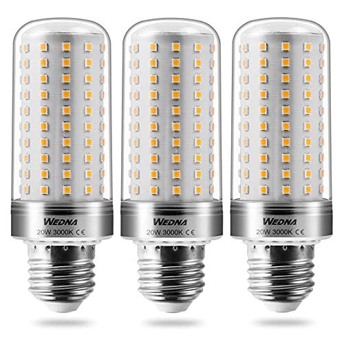 Wedna E27 LED Glühbirnen, 20W ersetzt 150W Glühbirnen, 3000K Warmweiß 2000Lm, E27 Mais Lampen Birnen Maiskolben Leuchtmittel, Nicht dimmbar, 3er-Pack