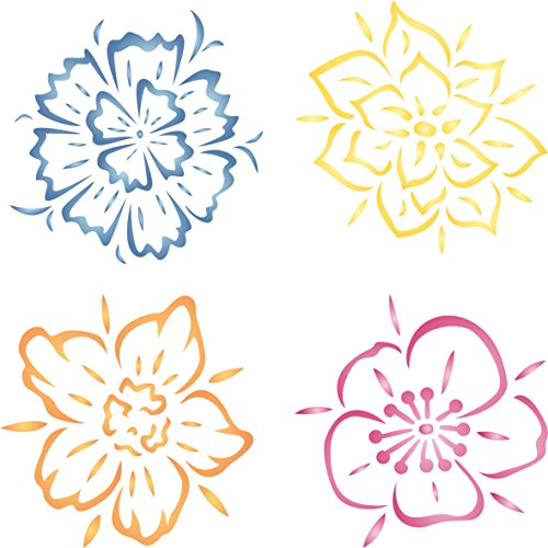 S - Reusable Fun Kids Allover Flower Stencils for Painting and More/… Wild Flowers Stencil 4.5 x 4.5 inch Wood Use on Walls Fabrics Floors Glass