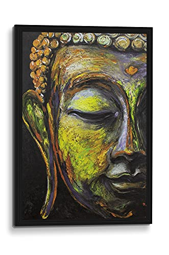 The Buddha, Framed Canvas Wall Art.3D Giclee Print, Genuine Wood Framed,Brushstroke Texture that Resembles Hand Painted Oil Painting. 5 Frame Designs