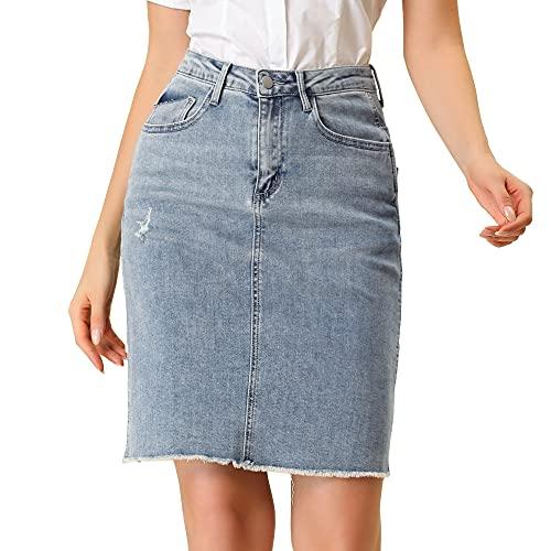 Allegra K Damen High Waist Ripped Saum Jeans Knielanger Jeansrock Gerader Rock Blau S