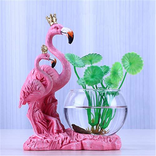 Mrncw w15Y8 Resin Flamingo hydroponic vase Creative Home Decoration transparent Glass Flower Arrangement Container Desktop Decoration small f