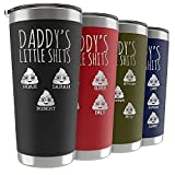 Birthday Gifts for Dad, Personalized Daddy's Little Sh!ts Tumbler w/Kids Names & Poop Emojis, 9 Colors, 20 or 30 Oz, Funny Dad Gifts from Daughter, Son, Kids - Novelty Gifts for Dad, Fathers Day Gift