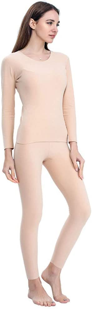 ZXYWW Womens Thermal Underwear Set Long Johns with Double-Sided Fleece, Ultra Soft Top & Bottom Base Layer for Skiing/Biking(Gift for Family),Skin Tone,XXXL