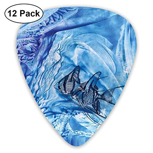 Guitar Picks12pcs Plectrum (0.46mm-0.96mm), Small Fish In Creepy Snow Cover Ice Crystal Labyrinth Aquatic Theme,For Your Guitar or Ukulele