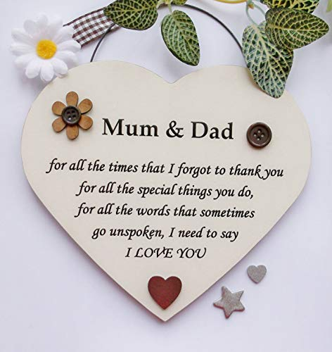 Special Mum and Dad Thank you present. Quality Wooden Heart Shaped Handmade...