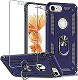Carcasa para iPhone 8, iPhone7/6/6s, Folmeikat diseño anillo de metal giratorio de 360 grados de absorción golpes squinas reforzadas de silicona TPU iPhone 8/7/6/6s Azul