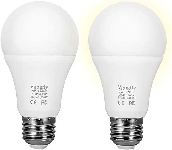 Sensor Lights Bulb Dusk To Dawn LED Light Bulbs Smart Lighting Lamp 7W E26 E27 Automatic On Off Indoor Outdoor Yard Porch Patio Garage Garden Warm White 2 Pack