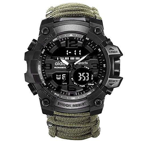 Reloj para exteriores con brújula, reloj despertador luminoso multifunción calendario, relojes pulsera militares analógicos prueba de agua, pulsera resina doble movimiento para exteriores para hombres