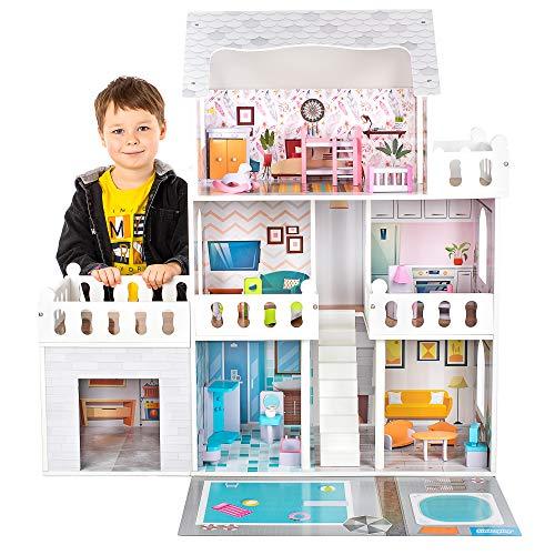 Kinderplay Puppenhaus Holz Puppenvilla Puppen Haus - Barbiehaus Traumhaus Holz Puppenstube Led-Licht Zubehör Set Garage, GS0020A