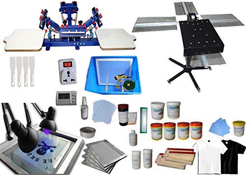 4 Color 2 Station Screen Printing Kit Desktop Screen Printing Press Equipment Material Screen...
