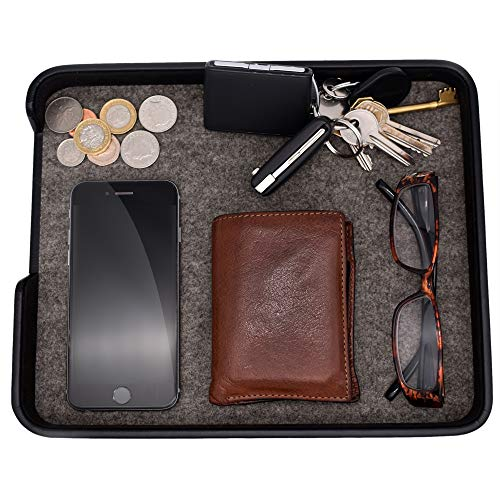 """Pocket Park - Wallet, Car Keys, Spare Change & Pocket Clutter Catchall Tidy Tray, EDC Tray, 8.6"""" x 7.9""""cm, Black - CEG-40 by Connected Essentials"""