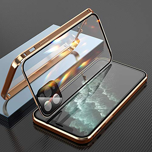 Double-Sided Buckle Magnetic Clear Case for iPhone 12 Pro Max 12 Mini Shockproof, Touch Sensitive Anti-Scratch 360° Full Body Protection Cover Case Drop Protection Case