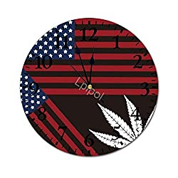 Lplpol Fashion PVC Wall Clock Blue Straight Line American Flag Marijuana Leaf 30cm/11.8in Round Wall Clock Non Ticking Silent Decorative Wall Clock
