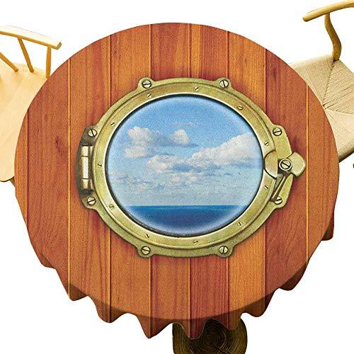 VICWOWONE Mantel náutico – 55 pulgadas al aire libre redondo mantel de ojo de buque sobre fondo de madera ventana barco viejo vela impresión disfrutar de cenar naranja oscuro oro azul pálido