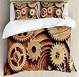 Juego de funda nórdica industrial, imagen de dispositivo mecánico de engranajes temáticos Inside The Clocks con estampado de estilo Steampunk, juego de cama decorativo de 3 piezas con 2 fundas de almo