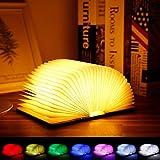 Albrillo LED Lámpara de Libro - Lámpara de Noche Recargable USB, 8 Cambio de Color, 1200mAh Batería, Plegable 360°, Blanco Madera Lámpara de Mesa Decorativa, Lo Mejor para Regalo o Decoración