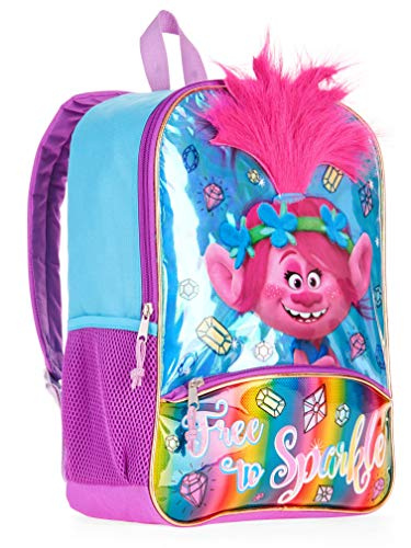 """Trolls Dreamworks 16"""" Backpack with 3D Brush-able Hair Poppy Free to Sparkle"""