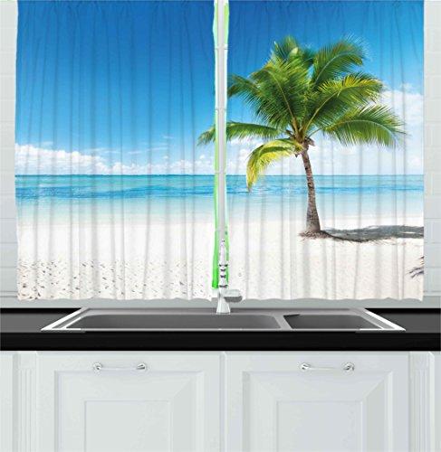 Ambesonne Landscape Kitchen Curtains, Caribbean Maldives Beach Island Sea Ocean Palm Trees Artwork Print, Window Drapes 2 Panel Set for Kitchen Cafe Decor, 55' X 39', Sky Blue