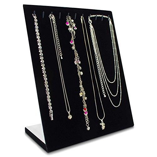 Grinscard - Kettenständer für 11 Halsketten Organizer für Schmuck Aufbewahrung & Präsentation - Samt Schwarz - 25 x 20 x 10 cm