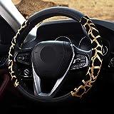 Febelle Funda para volante de coche de mujer, 38 cm, modelo leopardo, piel, cuatro estaciones, universal, leopardo, dorado