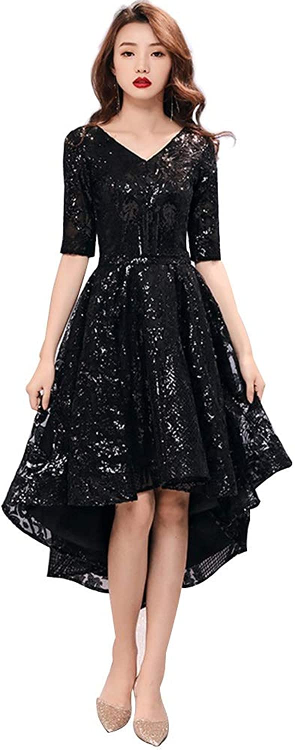 Black Evening Dress Female Fashion Party Highend Party Dress Party Annual Meeting Dress (Size   S)