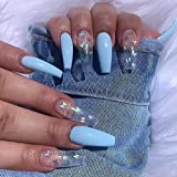 Blufly Glossy Gradient Blue Extra Long Press on Nails Square Coffin Fake Nails Butterfly Glitter Sequins Art Acrylic False Nails Tips Ballerina Nails for Women and Girls (Blue)