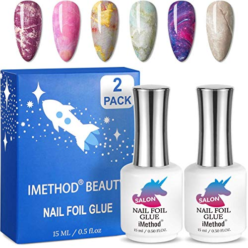 iMethod Nail Foil Glue - Foil Glue Gel for Nail, Foil Transfer Gel for Nails, Salon Grade Nail Art Foil Glue, Easy to Do at Home, 2 Counts 15 ML