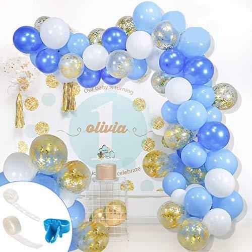 113 Pcs Kit de Guirnalda de Globos Azul Blanco y Confetti Globos de Latex Globos Kit de Arco de Guirnalda para Decoración de Boda Cumpleaños Fiesta Aniversario Graduación Decoración de Fondo