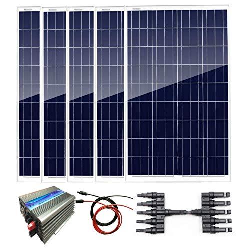 AUECOOR Kit de panel solar policristalino de 500 W: inversor de potencia de 1000 W + 5 paneles solares policristalinos de 100 W.