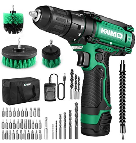GALAX PRO 12V Cordless Drill Driver with Work Light, Max Torque 18N.m, 3/8 Inch Keyless Chuck, 17+1 Position, Single Speed...