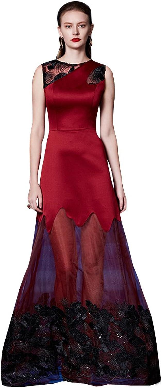 BeautyEmily Applique SeeThrough Tulle Sleeveless O Neck Evening Dress