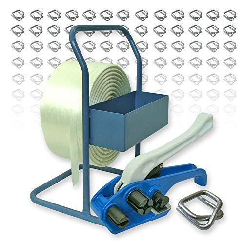Textil Umreifungsset 25 mm - Bandabroller, 500 m Umreifungsband, Spanngerät, 125 Metallverschlussklemmen verzinkt