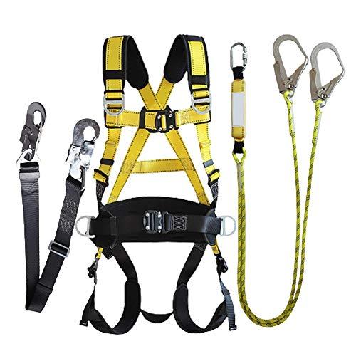 ZPCSAWA Kit de Arnés de Escalada para La Todo el Cuerpo, Cinturón de Seguridad Ajustable de 5-Puntos con Cuerda yGanchos para Trabajos Aéreos de Rescate de Incendios