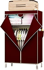Electz Closet Wardrobe Portable Clothes Storage Organizer with Metal Shelves and Dustproof Non-woven Fabric Cover 3