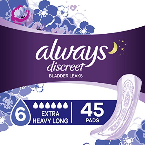 Always Discreet Incontinence & Postpartum Incontinence Pads for Women, Overnight Absorbency, Extra Heavy Long, 45 Count