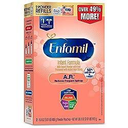 Enfamil A.R. Spit Up Baby formula gentle Milk Powder Refill, 32.2 Oz - Omega 3 DHA, Probiotics, Immu