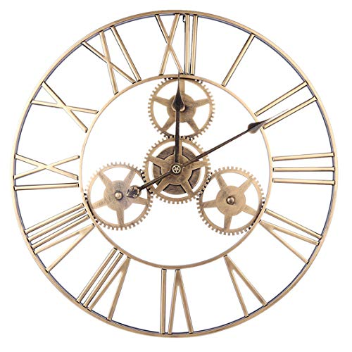 ZUJI 60cm Wall Clock Silent Vintage Wrought Iron Hollow Gear Mute Wall Clock Roman Numeral Hanging Clock for Decor