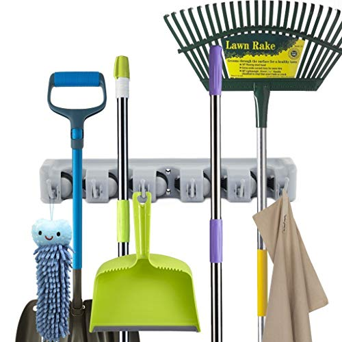 Newdora Multi-Stain Wall Mop Holder with 5 Slots and 6 Hooks, Multi-Purpose Mop Wall Storage Holder, Wall Organizer for Gardening Shed Tool Rack Garage Storage