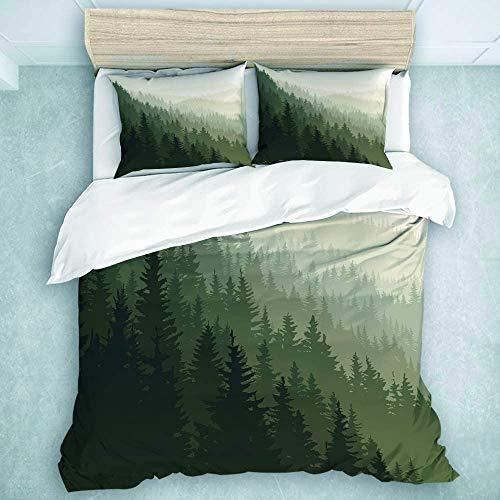 Juego de cama Vector cuadrado paisaje de bosque de coníferas salvajes, juego de cama decorativo para dormitorio plano, 3 piezas, (1 funda de edredón + 2 fundas de almohada), tamaño doble