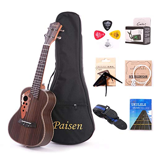 Paisen Rosewood 23 inch Hawaii Ukulele Professional Concert Ukulele with Tuner, Capo, Trim Folder Thick Piano Bag, Strings and Tortex